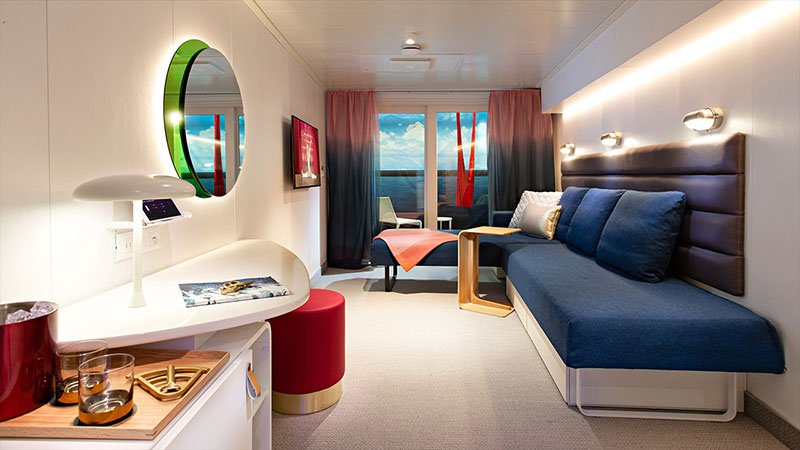 Cabin with Seabed in Day Mode on Virgin Voyages' Scarlet Lady