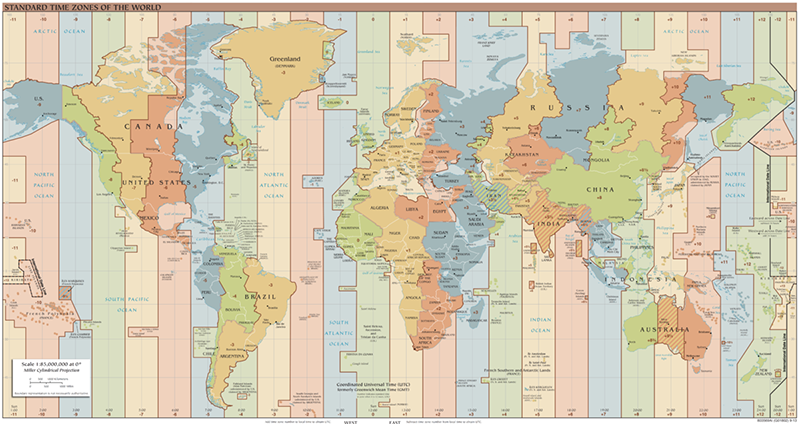 world time zone utc offset map - when to adjust your clocks on a cruise