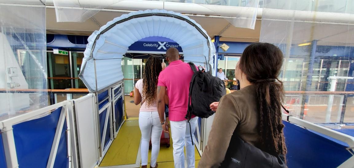 Walking onto Celebrity Equinox in Port Everglades