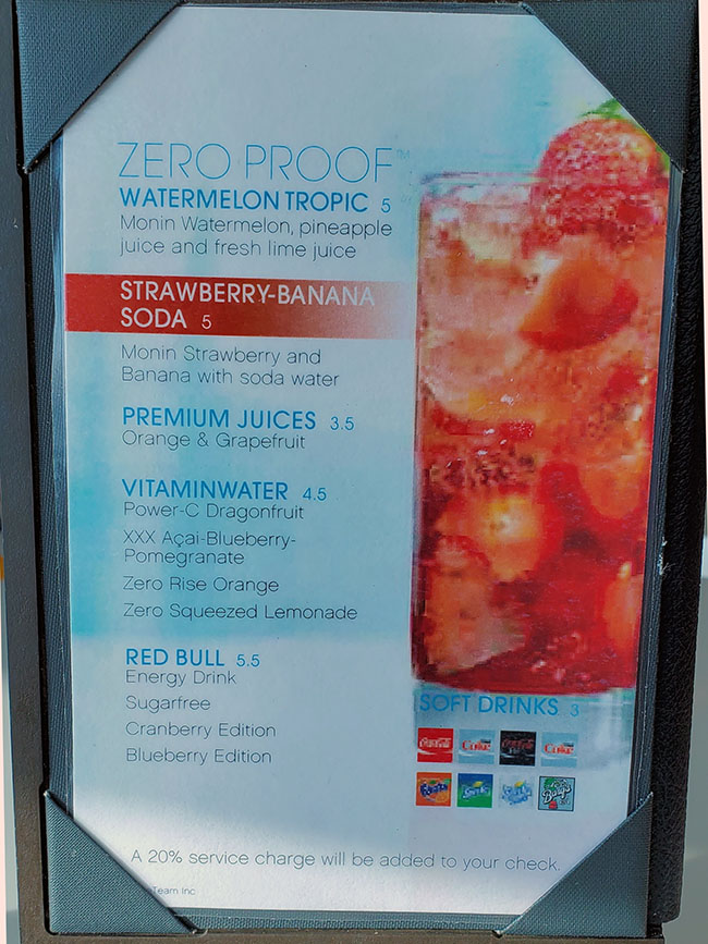Zero Proof Cocktails in Oceanview Cafe on Celebrity