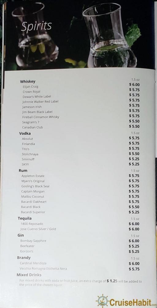 Msc bar menu